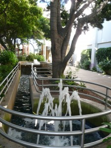 Feng Shui water fountain at Stanford Shopping Center in Palo Alto with Yin/Yang energy