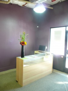 Feng Shui tips for wealth suggests the color purple. Here is an entrance with bluish-purple walls.