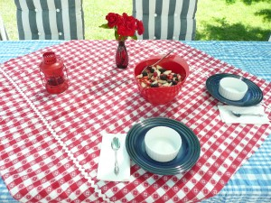 July 4th - Red, white and blue on the table and in the bowl.