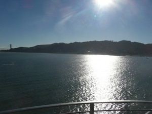 View of the late afternoon sun over Sausalito from Villa Belvedere